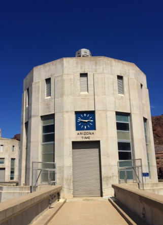 The Arizona intake tower, showing the local time in Arizona.