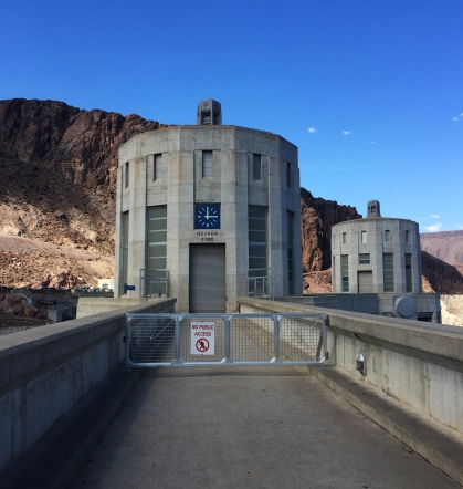 The Nevada intake tower, showing the local time in Nevada.